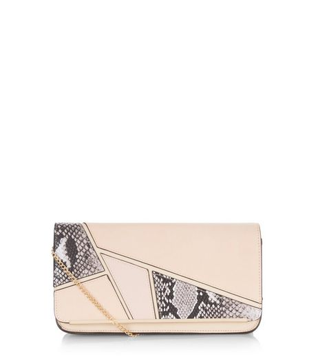 Cream Geo Panelled Clutch  | New Look