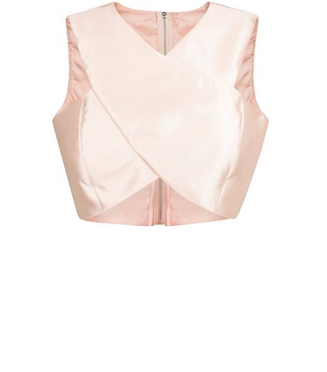 Cameo Rose Pink Satin Wrap Crop Top | New Look
