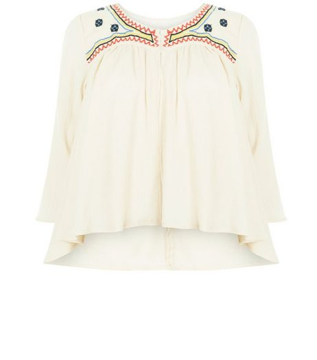 Blue Vanilla Cream Embroidered Jacket | New Look