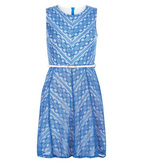 Mela Blue Zig Zag Lace Belted Skater Dress | New Look