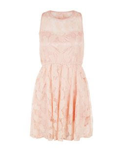 Mela Pink Leaf Print Lace Sleeveless Dress | New Look