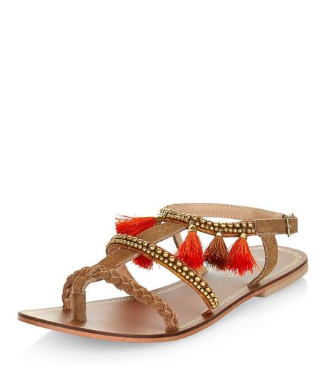 Wide Fit Tan Leather Tassel Trim Beaded Sandals  | New Look
