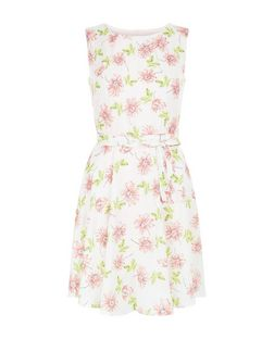 Mela Pink Floral Print Tie Waist Skater Dress | New Look
