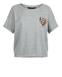 Teens Grey Animal Heart Print Crop Top | New Look