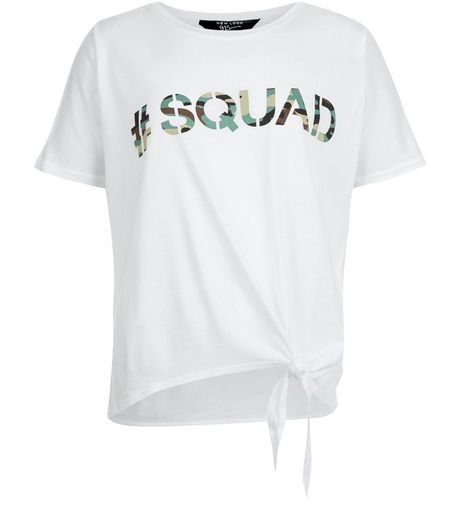 Teens White Camo #Squad Print Tie Front T-Shirt | New Look