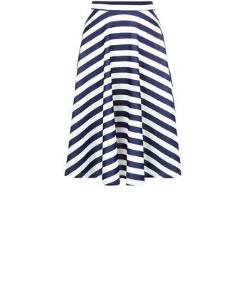 Gonna  donna Mela Blue Stripe Scuba Midi Skirt