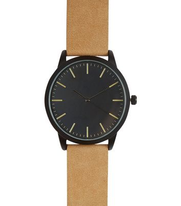 camel-suede-strap-watch