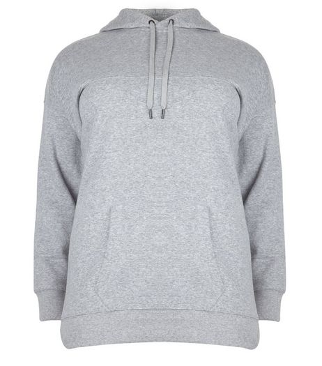 Curves Grey Oversized Hoodie | New Look