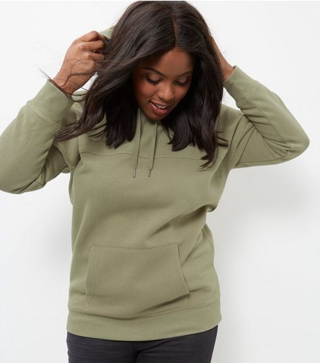 Curves Khaki Oversized Hoodie | New Look