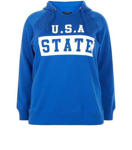 Curves Blue USA State Hoodie | New Look