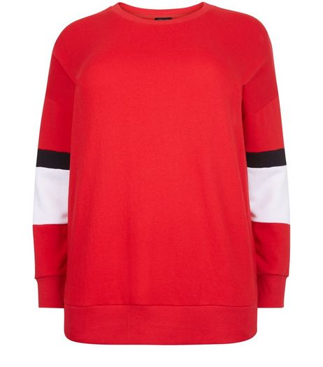 Curves Red Colour Block Sleeve Sweater | New Look