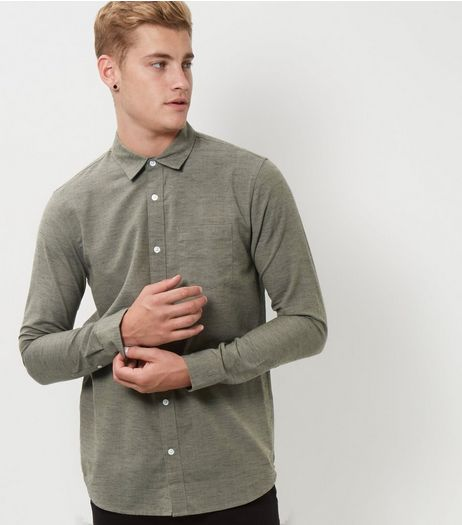 Khaki Textured Slub Long Sleeve Shirt  | New Look