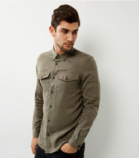 Khaki Double Pocket Shacket | New Look