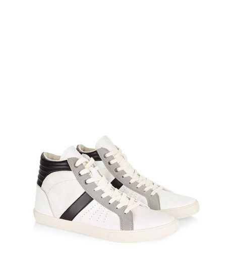 White Lace Up Hi Top Plimsolls | New Look