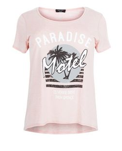 Curves Pink Paradise Motel T-Shirt  | New Look