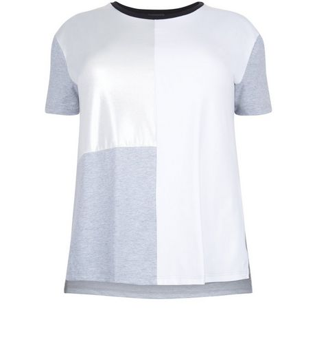Curves Silver Colour Block T-Shirt | New Look