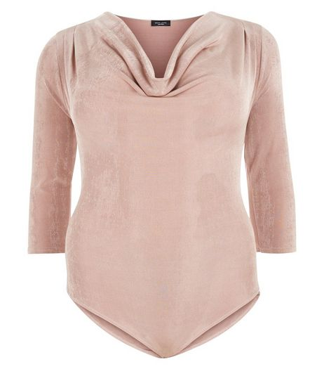 Curves Shell Pink Cowl Neck Bodysuit | New Look