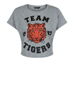 Teens Grey Team Tigers Print Crop Top | New Look