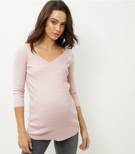 Maternity Shell Pink V Neck Jumper | New Look