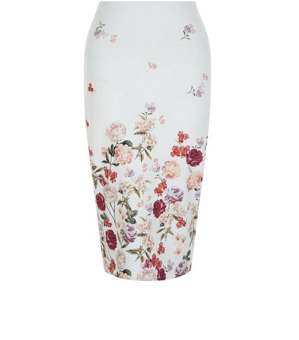 White Floral Print Pencil Skirt