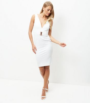 White Buckle Front V Neck Midi Bodycon Dress