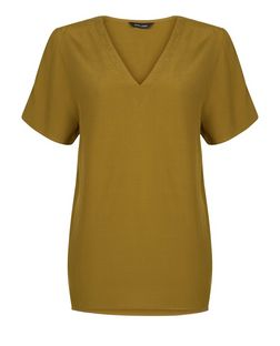 Khaki Dip Hem Boxy T-Shirt | New Look