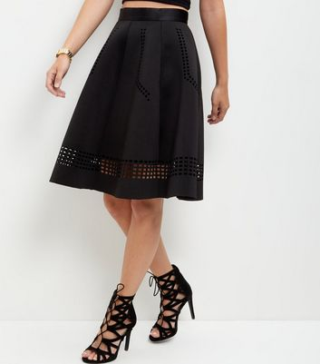 Black Scuba Laser Cut Out Trim Midi Skirt
