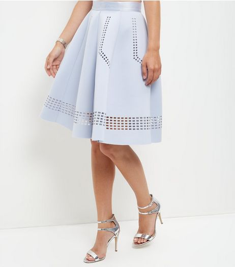 Light Blue Scuba Laser Cut Out Trim Midi Skirt  | New Look