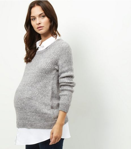 Maternity Grey 2 in 1 Ribbed Jumper | New Look