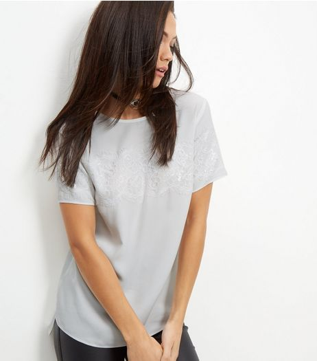 Cream Lace Trim T-Shirt  | New Look