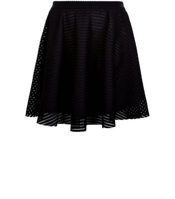 Curves Black Mesh Skater Skirt