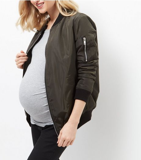 Maternity Khaki Bomber Jacket | New Look