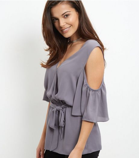 Grey Tie Wrap Front Cold Shoulder Top  | New Look