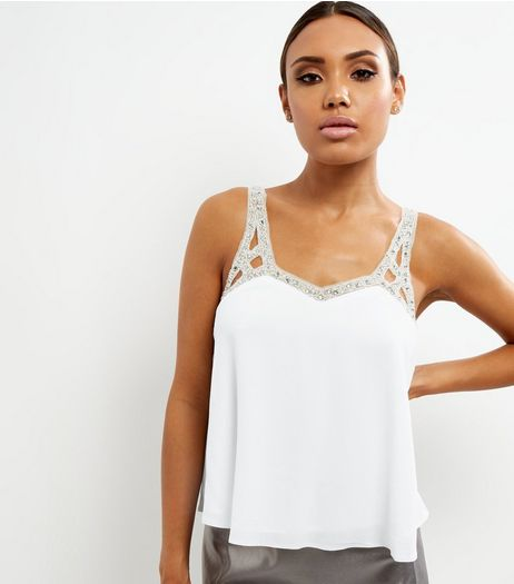 White Embellished Strap Cami Top  | New Look