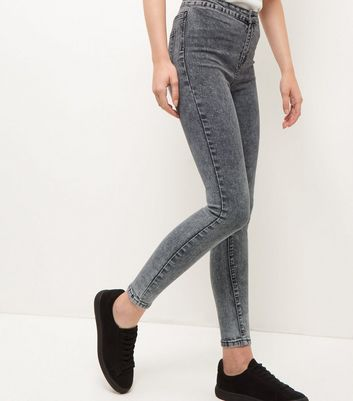 Dark Grey Acid Wash High Waist Super Skinny Jeans