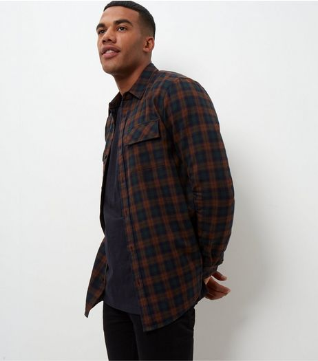 Grey Check Long Sleeve Double Pocket Shirt  | New Look