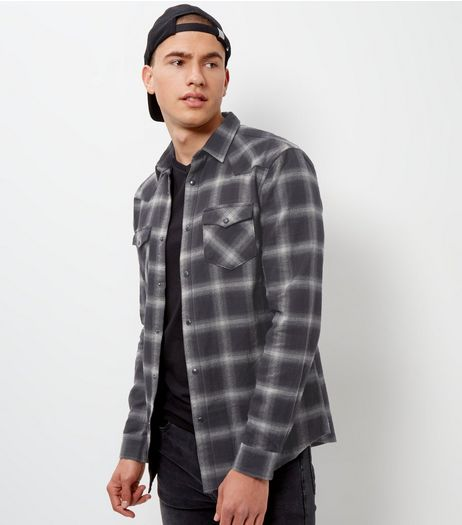 Grey Check Double Pocket Long Sleeve Western Shirt | New Look
