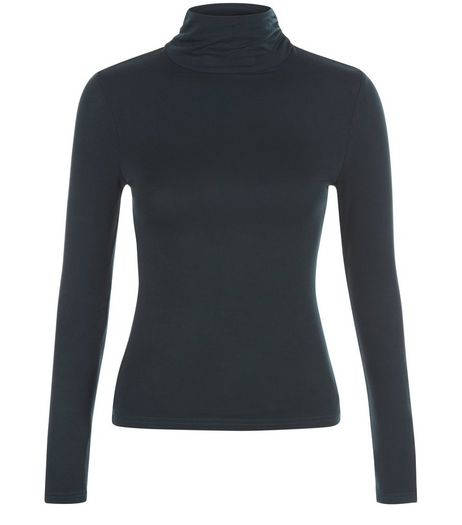 Petite Dark Green Turtle Neck Top | New Look