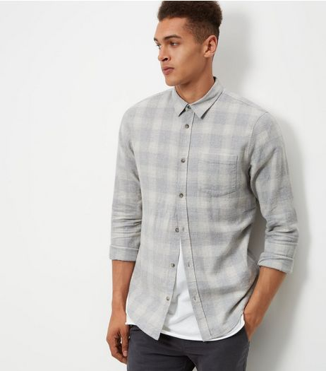 Pale Grey Check Cotton Long Sleeve Shirt  | New Look