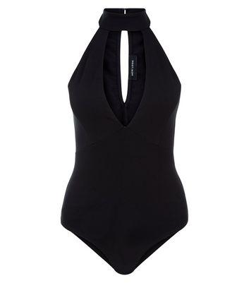 Black Cut Out Funnel Neck Bodysuit