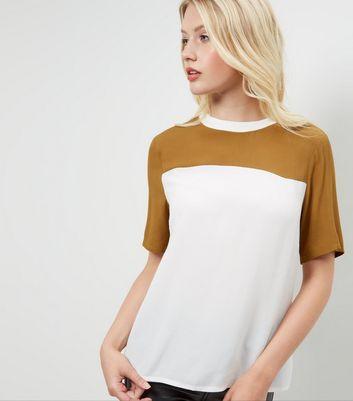 khaki-colour-block-swing-t-shirt