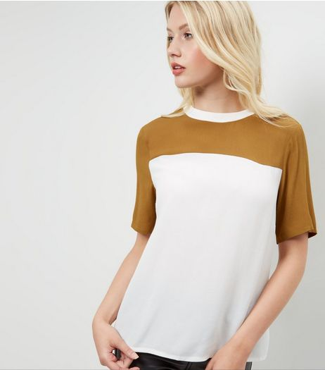 Khaki Colour Block Swing T-Shirt  | New Look