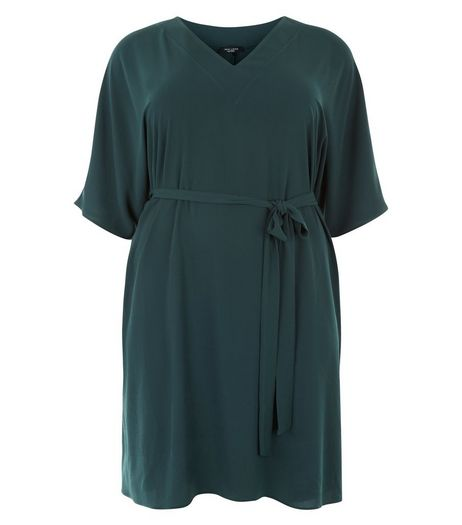 Curves Dark Green Tie Waist Wide Sleeve Dress | New Look