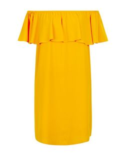 Bright Orange Frill Bardot Neck Dress  | New Look