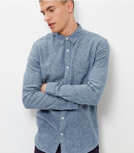 Blue Twill Long Sleeve Shirt | New Look