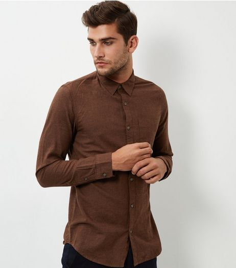 Deep Red Long Sleeve Rust Texture Shirt | New Look