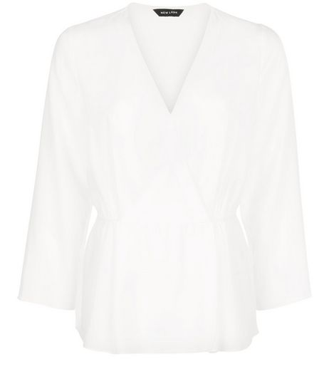 White Wrap 3/4 Sleeve Peplum Top | New Look