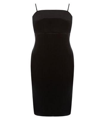 Curves Black Velvet Strappy Bodycon Dress