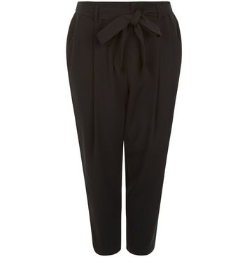 Curves Black Belted Trousers