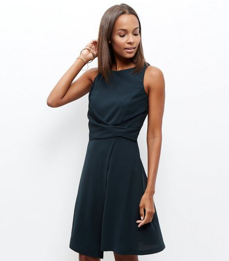 Dark Green Knot Front Drape Dress | New Look